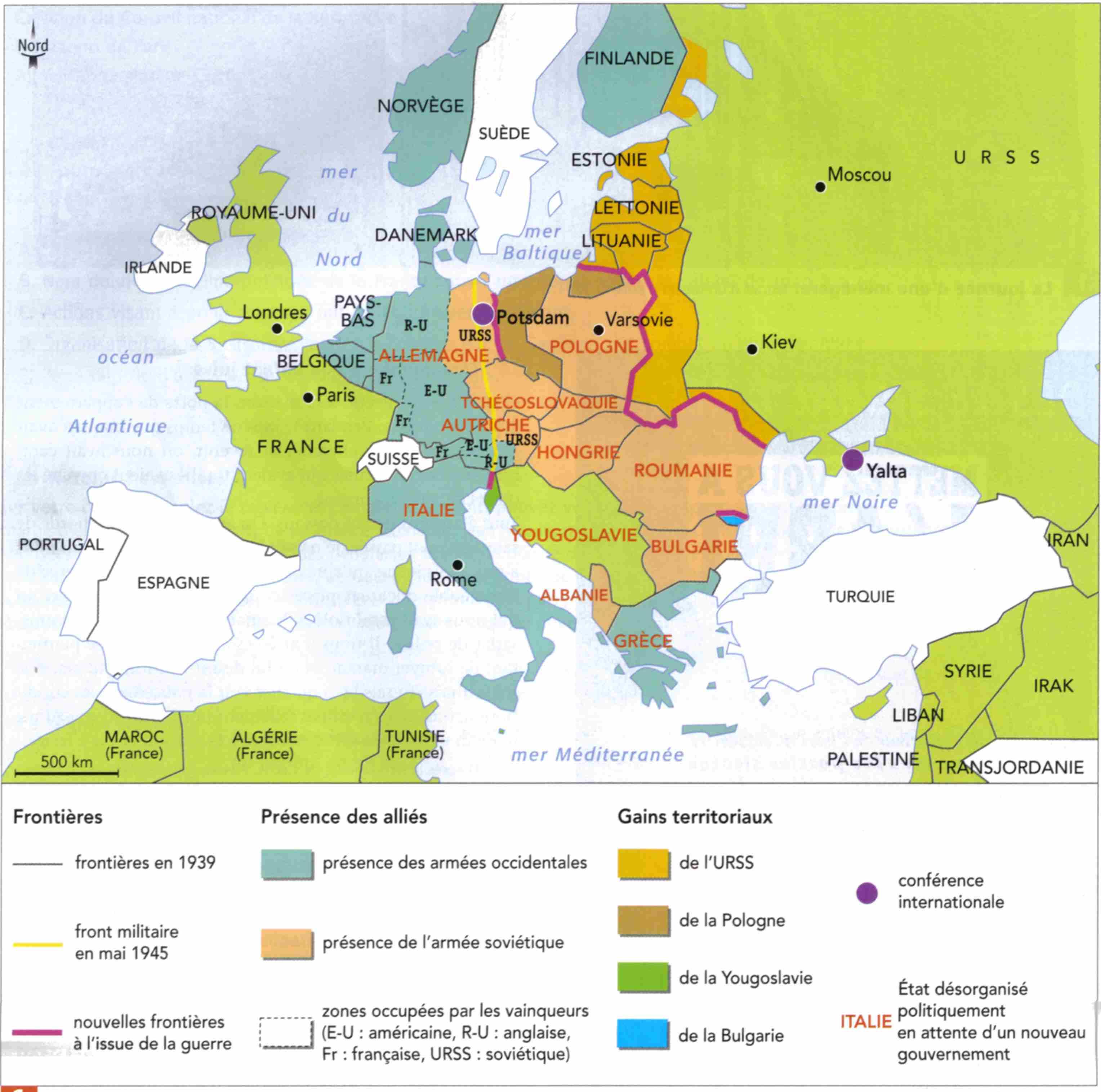 carte europe en 1945